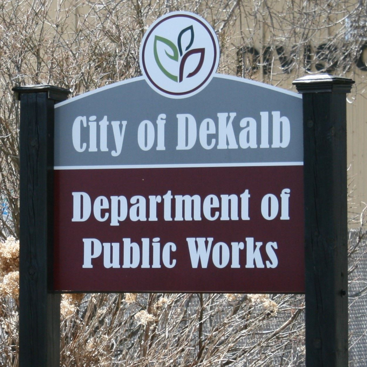 "A sign reads ""City of DeKalb, Department of Public Works"""