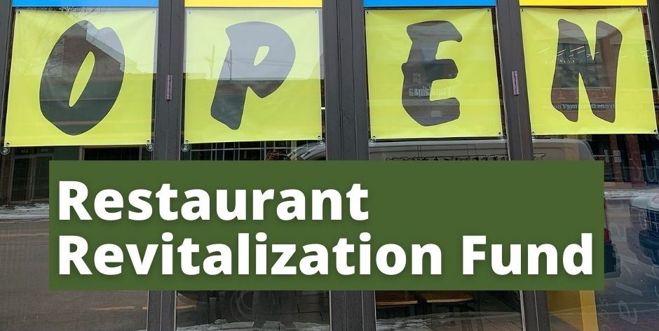 The text Restaurant Revitalization Plan appears over a sign reading Open.