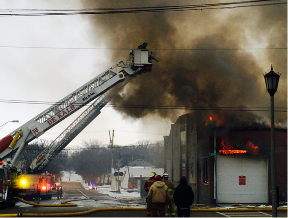 Aerial ladder truck at work
